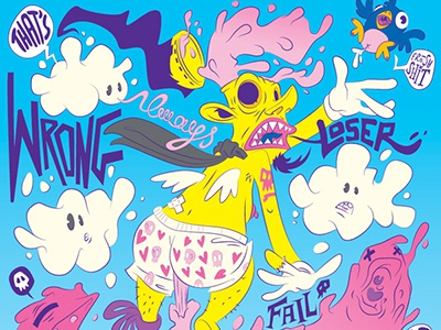 Floating Words - Fear typography illustration character design pop surrealism weird vector