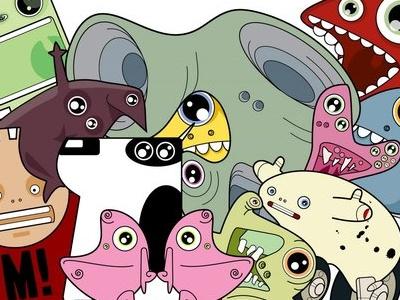 Monsters character design illustration pop surrealism weird cartoon vector