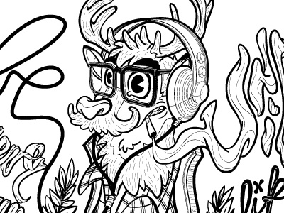 Oh my deer (be unique and forever young like a 1960 radio). deer hipster vintage mustache beard headphones music cigarettes illustration blackwhite vector animals
