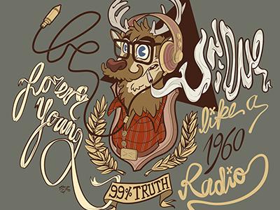 Oh my deer! hipster radio vintage deer nature animals forest typography