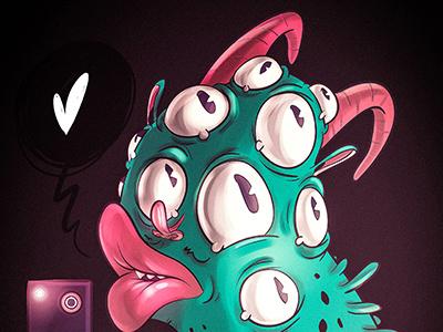 Pictoplasma character selfie character design illustration selfie pop surrealism weird cartoon monster creep pictoplasma