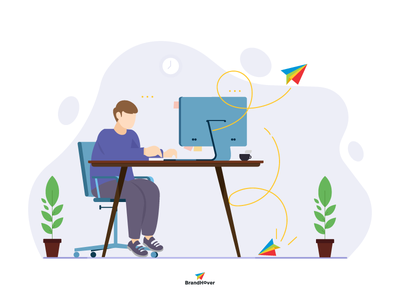 BrandHover web banner flat design vector branding illustration illustrator