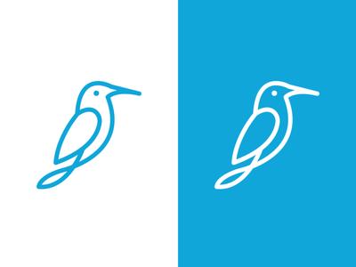 Kingfisher Monoline minimal vector flat logoshape branding illustration design logo icon illustrator