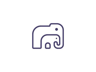 Monoline Elephant Symbol branding minimal vector logos flat illustration design logo icon illustrator