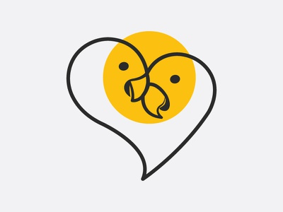 Love Birds Logo birds design flat minimal vector logoshape illustration logo icon branding