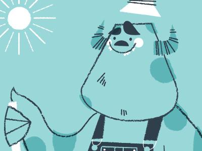 Farmer Sulley WIP illustration monster sulley farmer sunshine