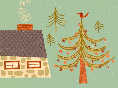 winter illustration house tree winter bird