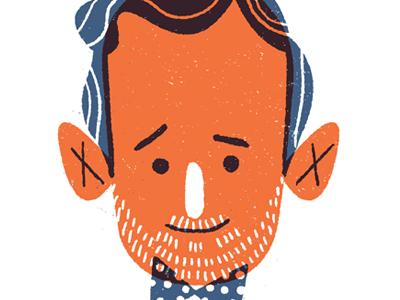 hmm? illustration face two color bowtie beard