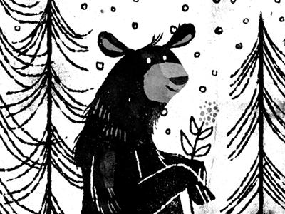winter bear illustration bear winter woods trees black and white