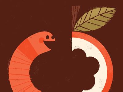 Parentheses worm apple illustration illustrated type