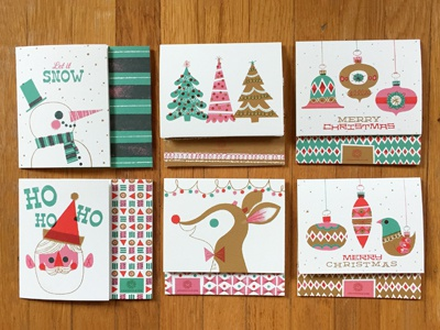 All the cards :D snow santa trees reindeer rudolph ornaments baubles pattern paper stationary christmas christmas cards