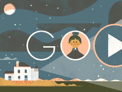 Ida Lewis Google Doodle brave rhode island woman hero lighthouse keeper limited palette illustration