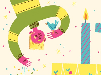 17th Birthday limited palette illustration upside down bird celebration party market poster birthday