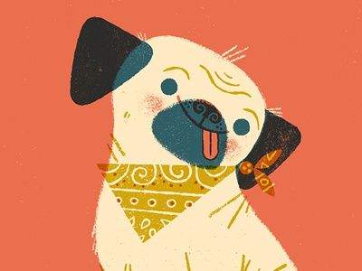Sometimes I feel like a pug limited palette overlay printing pug dog anthropomorphizing illustration