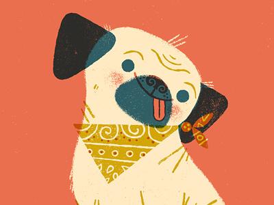 Sometimes I feel like a pug limited palette overlay printing pug dog anthropomorphizing illustration