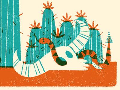 Desert Cacti snake skull cactus cacti desert limited palette two color illustration