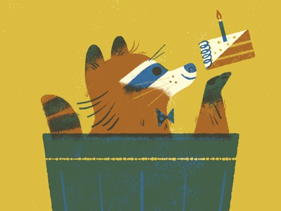 I'll eat that celebrate anthropomorphizing birthday racoon animal limited palette four color illustration