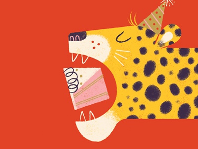 Eat all the cake anthropomorphizing cheetah cake birthday greeting card card illustration