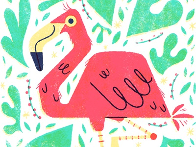 Summer Time! limited palette bird anthropomorphic summer plants flamingo illustration