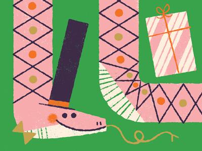 Slithering Celebration present snake illustration greeting card card celebration birthday anthropomorphizing