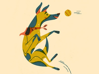 Is it Friday yet? limited palette anthropomorphizing jump dog illustration