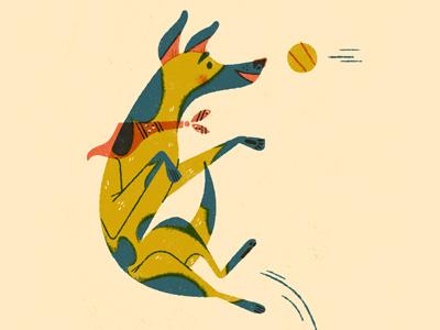Is it Friday yet? limited palette anthropomorphizing jump dog illustration
