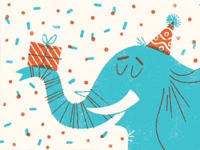 Happy happy! anthropomorphizing elephant celebration birthday limited palette two color illustration