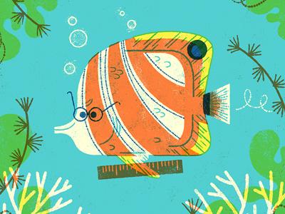 School-of-fish Teacher limited palette school teach ocean sea anthropomorphizing fish illustration