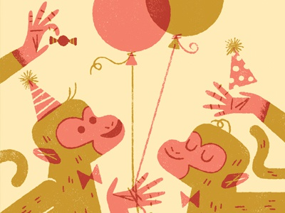 It's Friday, Monkeys. anthropomorphic anthropomorphizing animals party monkeys limited palette two color illustration