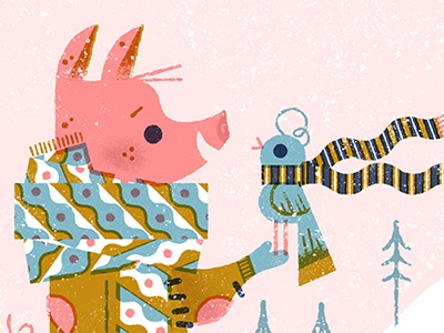 Happy 2018! patterns pig bird snow winter anthropomorphic animals anthropomorphizing limited palette illustration