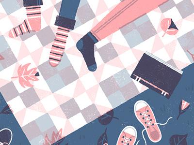 Together love together picnic fall autumn quilt pattern limited palette illustration