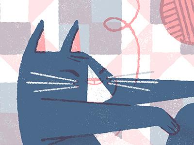 Tuckered kitty animals quilt sleep catnap yarn cat limited palette illustration