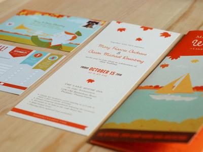 pennsylvania wedding illustration wedding invitation postcards autumn lake scouting camping