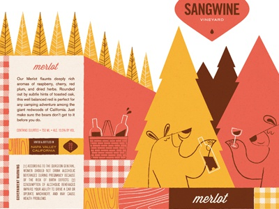 sangwine: merlot illustration wine label packaging logo bears forest trees drinking picnic basket
