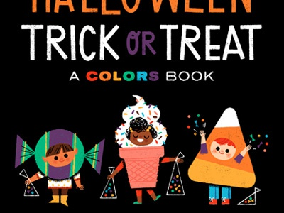 Halloween Trick or Treat: A Colors Book book illustration ice cream candy corn candy kids costumes halloween