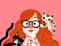 Self Portrait woman cats portrait limited palette illustration