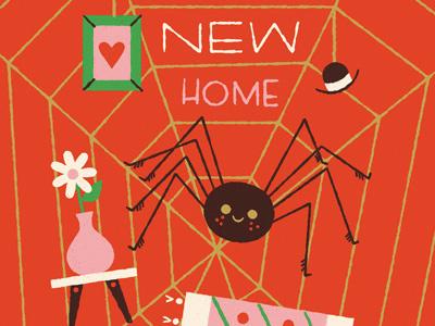 Happy New Home web anthropomorphizing spider illustration