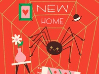 Happy New Home web anthropomorphizing spider illustration