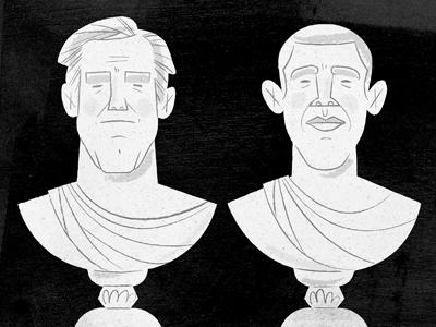 Mitt 'n Barack illustration editorial sculpture greek mitt barack politics
