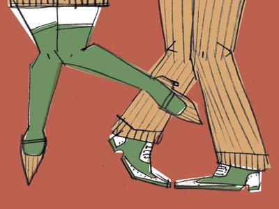 color comp/sketch illustration 1920s flapper dancing sketch