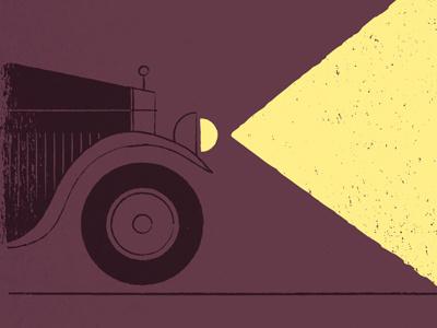 1920s illustration night light car 1920s