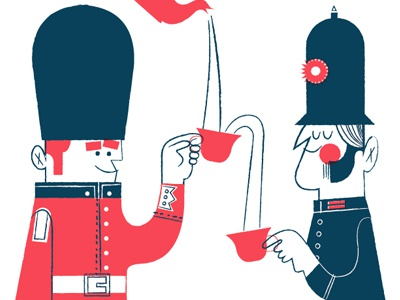 let's be friends! london british illustration pink navy guard police line