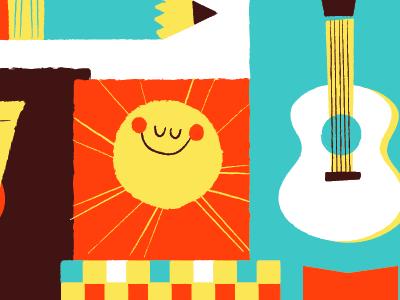 Gowanus illustration sun pencil guitar pattern gowanus