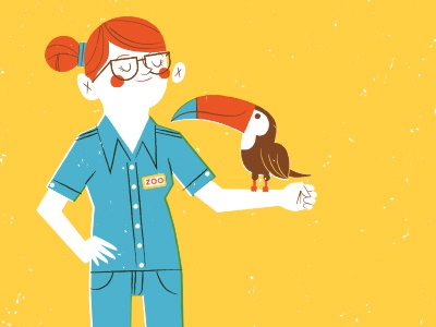 Zookeeper Lydia illustration zoo self-portrait toucan zookeeper red hair