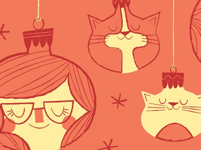 merry christmas from the gang illustration snow ornaments heads cats christmas