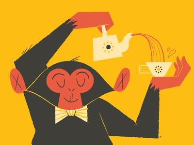 chimps like tea too illustration chimp animal tea bowtie