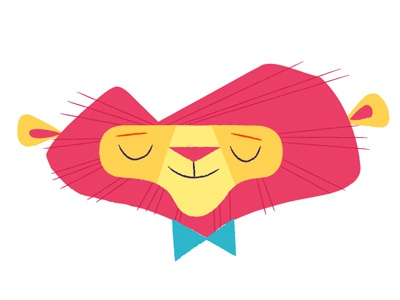 Hello! lion illustration bow tie pink blue
