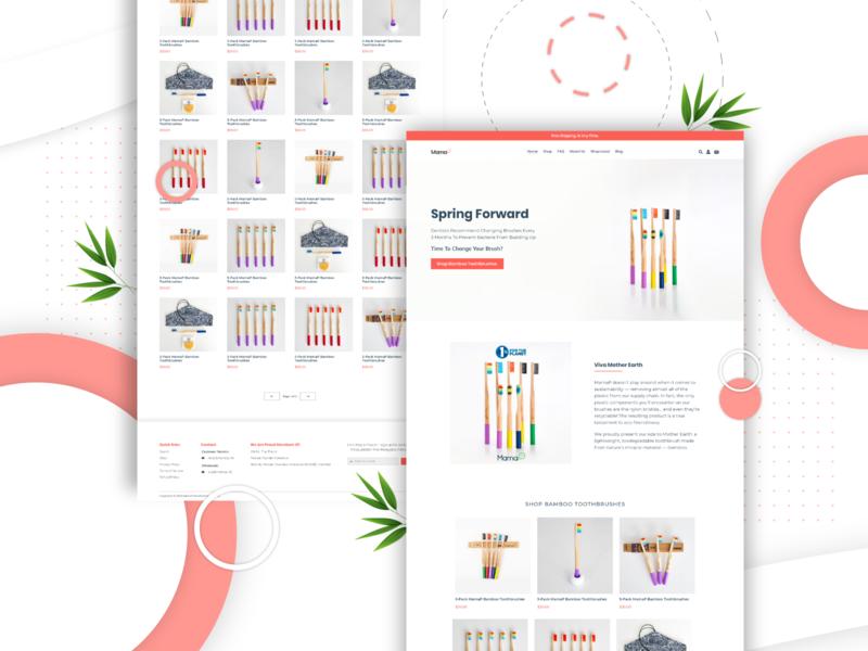 MamaP - Ecommerce Site rainbow shop bamboo organic eco lgbt gay toothbrush shopify ecommerce minimal branding flat illustration website web typography ux ui design