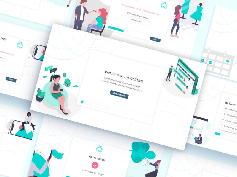 The Call List - Shopify App Onboarding minimalist ecommerce flat design illustration ux web app ui minimal isometric illustration membership onboarding