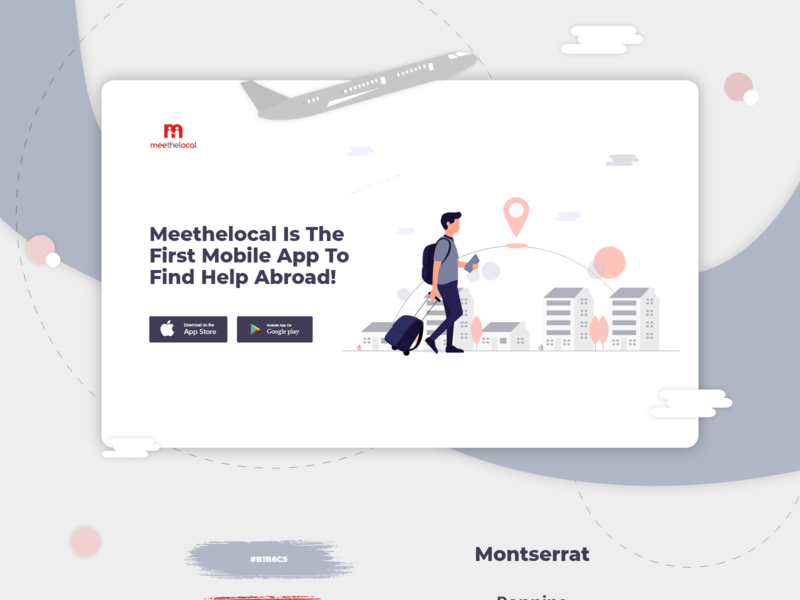 Landing Page For A Travel App flat ecommerce web minimal ux ui illustration illustrations web design social network tourism travel landing page